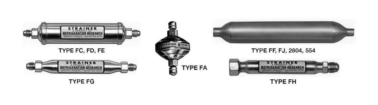Strainers - Liquid Line and Water Part Number Types